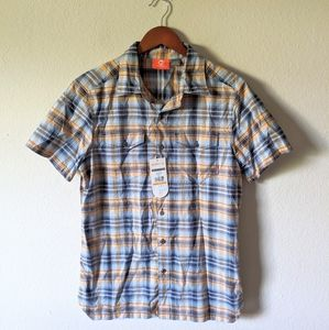 NWT Merrell Blue Plaid Button Down Short Sleeve